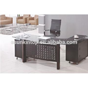 Glass topped desk, High class office desk furniture manufacturer in Foshan