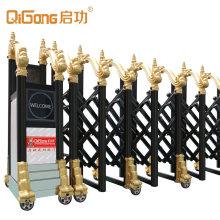 Main Industrial Accordion Sliding Gate Aluminium Alloy Electric Luxury Automatic Retractable School Black, Gloden