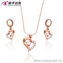 63105 Xuping Modeschmuck, Herzform mit Roségold-Motiven und Anhänger aus Stein mit plattierten Schmucksets