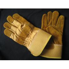 Gant de travail d'hiver en cuir fendu entièrement en cuir de vache doré-3071
