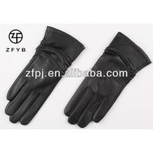 Heiße Verkaufsart und weise preiswerte schwarze Schaffelldame-Lederhandschuhe