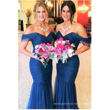 Free Shipping High Quality Navy Mermaid Bridesmaid Dress Long Pleated Vestido De Festa Longo Off The Shoulder Sexy ML117