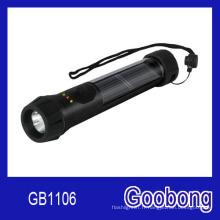 Lampe de poche solaire LED avec batterie de secours et témoin lumineux