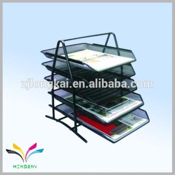 Suporte de escritório malha de arame metálico preto 5 níveis suporte do documento