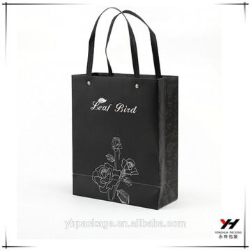 2018 noël design logo personnalisé kraft papier d'emballage cadeau shopping noir sacs