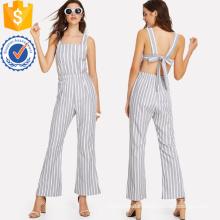 Grey Tie Back Striped Pinafore Jumpsuit OEM/ODM Manufacture Wholesale Fashion Women Apparel (TA7006J)