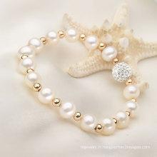 Bracelet en perles de perles et perles naturelles naturelles de 7-8mm avec élastique (E150031)