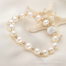7-8mm Round Natural Freshwater Real Pearl with Beads Bracelet (E150031)