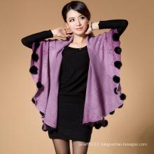 Lady Fashion Acrylic Knitted Rabbit Fur Ball Winter Shawl (YKY4482)