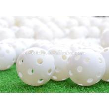 Vendável do fluxo de ar amarela oco perfurado plástico golfe bolas de prática de tênis