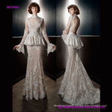 Full Embellishment Peplum Victorian Vintage Bridal Long Sleeves Sheer High Neck Sweetheart Neckline Sheath Wedding Dress with Keyhole Back and Sweep Train