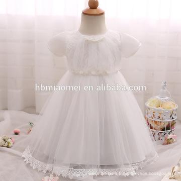 Robes de baptême infantile de bébé filles pour les vêtements de baptême de bébé Robes de baptême de bambin blanc