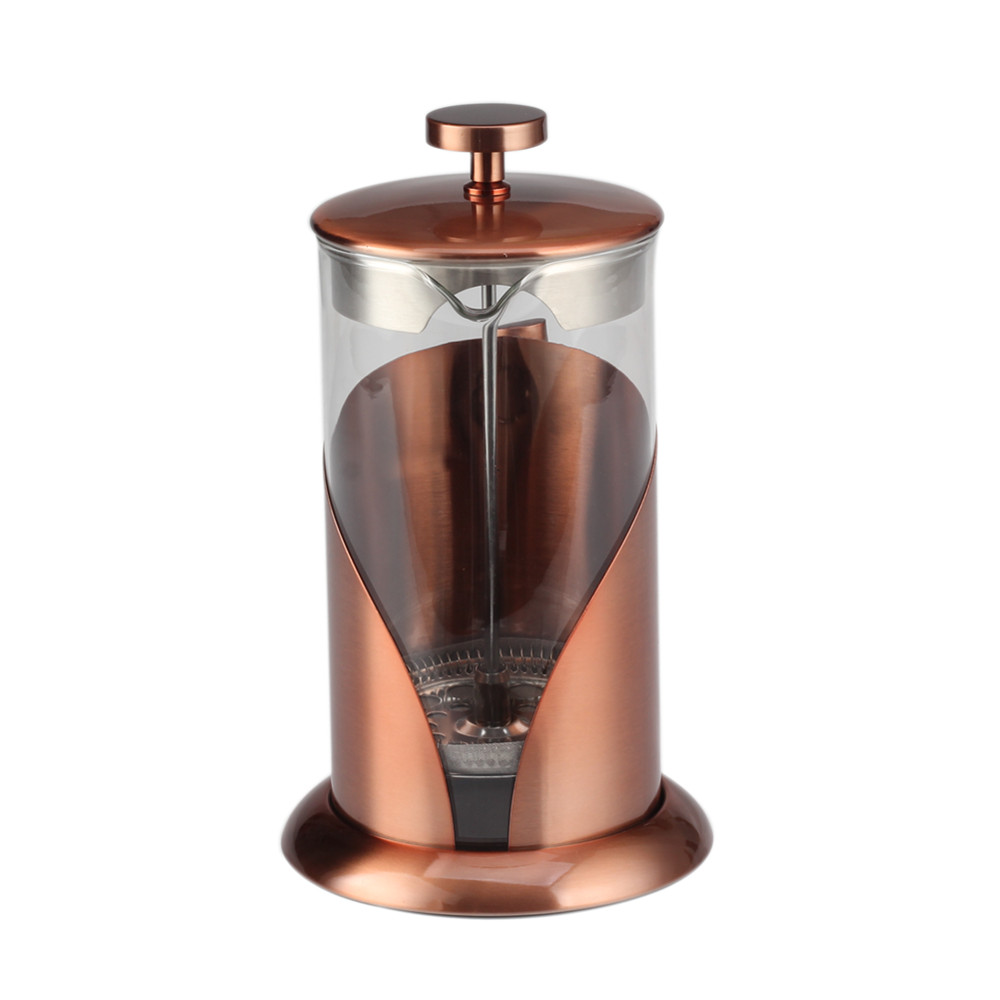 Copper Frame Glass French Press Coffee Maker