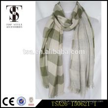 Alta qualidade novo estilo baixo preço verificado duplo lado cachecol viscose senhora lenço intemporal fábrica china fornecedor