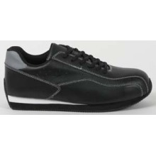 Black Pu Men's Safety Sneaker With Black Lace
