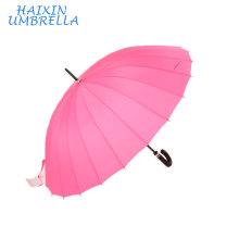 """Super 27 """"En Gros Chinois Rose Femmes Longue Manuelle Manuel Ouvert 24 Côtes Droites Bâton de Marche Grand Parapluie de pluie à vendre"""