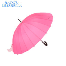 "Super 27 ""Atacado Chinês Rosa Longo Handle Handle Manual Aberto 24 Rib Reta Bengala Grande Chuva Guarda-chuva para Venda"