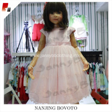JannyBB pink satin lovely lace toddler dress