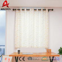 High quality foil leaf printed linen window curtains