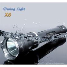 La plongée hi-max conduit cree xm-l u2 * 3 scuba pour les lampes de poche de plongée 3800lumen