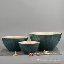 3PCS Glasierte Keramik Geschirr Set Schüssel