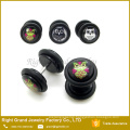 UV Acrylic Owl Logo Epoxy Fake Cheater Plugs Earrings With O Rings