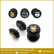 Le tricheur faux d'époxyde de logo acrylique de hibou UV embroche des boucles d'oreille avec des anneaux d'O