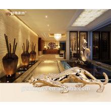 Ornement en or rose personnalisé ornements de léopard argenté avec diamant pour décor intérieur