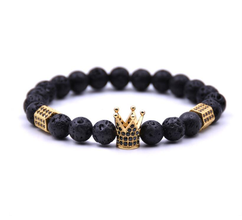 Lava stone Crown Bracelet for women Girl
