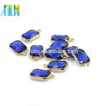 Novo Design 13 * 18mm Sapphire Cor Birthstones Conector De Cristal Encantos Gem Stone Para Fazer Jóias DIY 12 pçs / saco