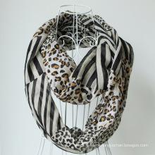 Леди мода Leopard печати полиэстер вуаль бесконечности шарф (YKY1103)