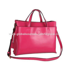 Leather Handbag with Handle and Long Shoulder Stripe, Brand Vintage Style for 2014 New Collection