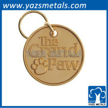 Custom circle keychains with grand paw gold