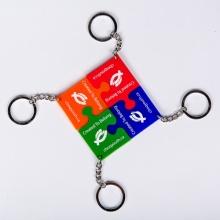 4Pcs Die Cut Puzzle Shape Silicone Keychains