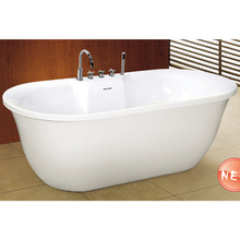 Oval Shape Slim Overflow with Faucet Freestanding Bathtub