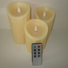 Real wax simulated flame moving led pillar candle