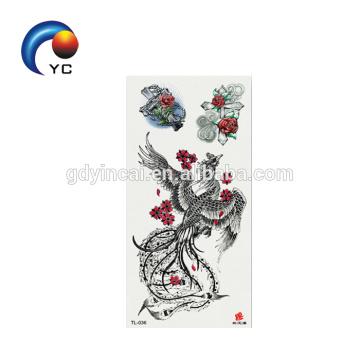 Super hermosa pluma animales diseños de tatuaje impermeable tatuaje temporal del cuerpo