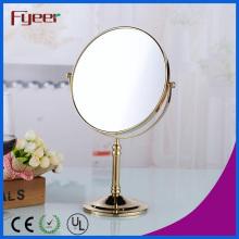 Espejo compacto de Fyeer Espejo cosmético de escritorio plateado de oro (M5618G)