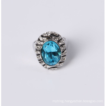 Zinc Alloy Fashion Jewelry Ring with Glass Stone and Rhinestones