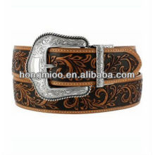 Leaves Design Vintage Matt Silver pin buckle genuine leather belt leaf Brown Strap customizable