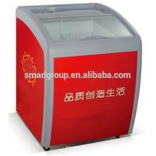 congelador de la exhibición de la puerta de cristal del congelador pequeño del helado