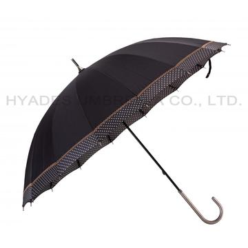 Wanita 16 Ribs Lace Manual Open Straight Umbrella