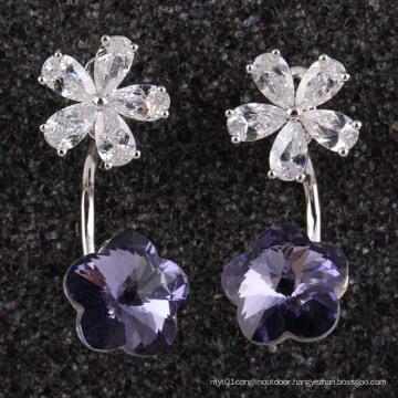 Silver Cubic Zirconia Crystal Diamond Stud Dangle Earrings