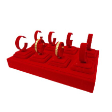8 Clips Red Velvet Jewelry Bangles Display Tray (TY-8BGL-RV)