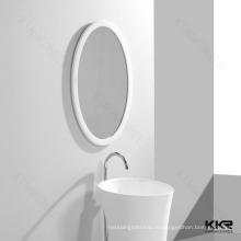 Стильный Белый Камень В Обрамлении Зеркала Ванной Комнаты