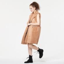 Manteau en fourrure à col en fausse fourrure
