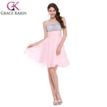 GK sin mangas corta con cuentas de color rosa vestido de cóctel CL7508-1