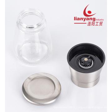 Conjunto de moedor manual de moinho de sal e pimenta jarra de vidro