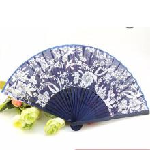 Cheap promocional pano azul bambu mão fã