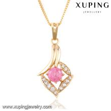 32667 moda elegante strass cz 18k banhado a ouro imitação de jóias cadeia pingente